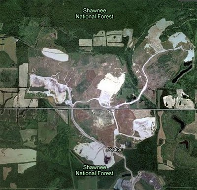 Satellite photo depicts the scars of strip mining in Southern Illinois
